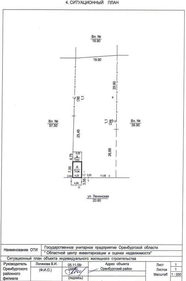 Порядок уточнения границ земельных участков Пример № 4 Ситуационный план
