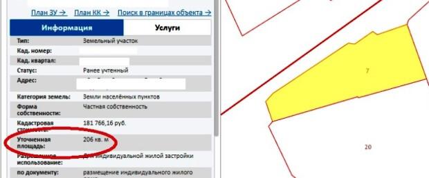 уточненная площадь земельного участка